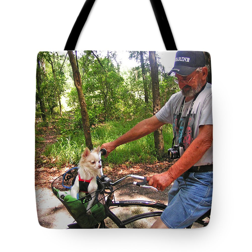 Expressive Tote Bag featuring the photograph Dog In A Basket by Lenore Senior