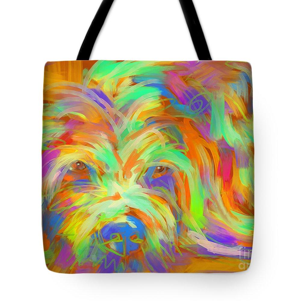 Dog Tote Bag featuring the painting Dog Matze by Go Van Kampen