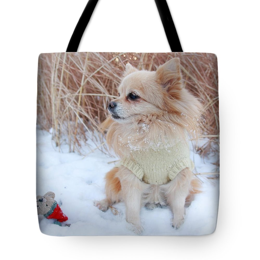 Christmas Tote Bag featuring the photograph Dog Playing In Snow by Charline Xia