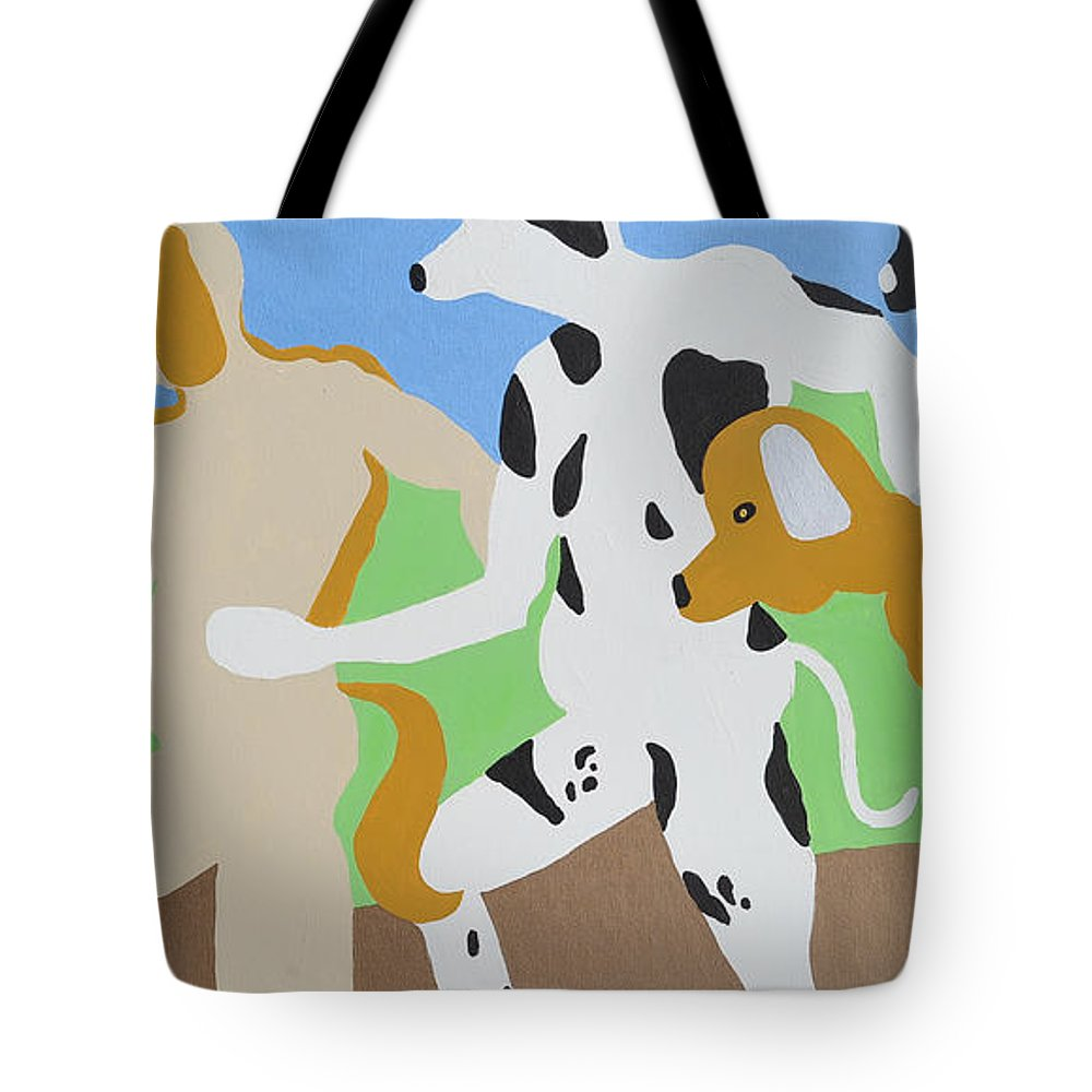 Dogs Tote Bag featuring the painting Dogged by Erika Chamberlin