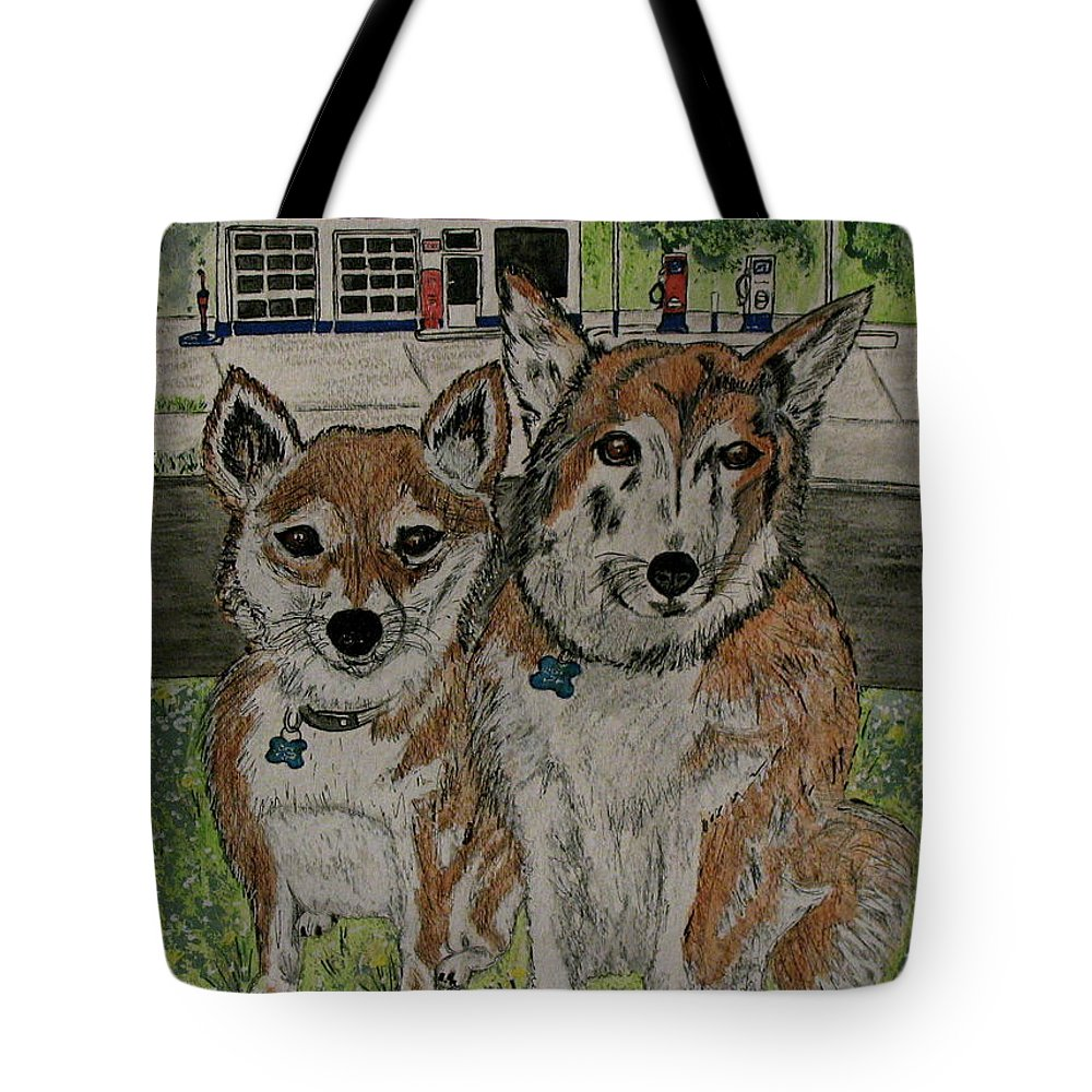 Dogs Tote Bag featuring the painting Dogs In Front Of The Gulf Station by Kathy Marrs Chandler
