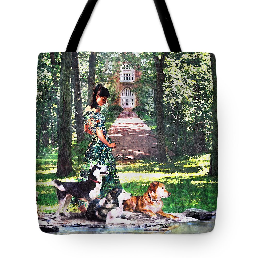 Landscape Tote Bag featuring the photograph Dogs Lay At Her Feet by Steve Karol