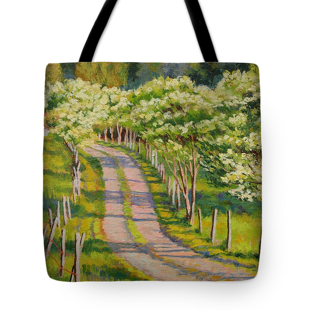 Impressionism Tote Bag featuring the painting Dogwood Allee by Keith Burgess