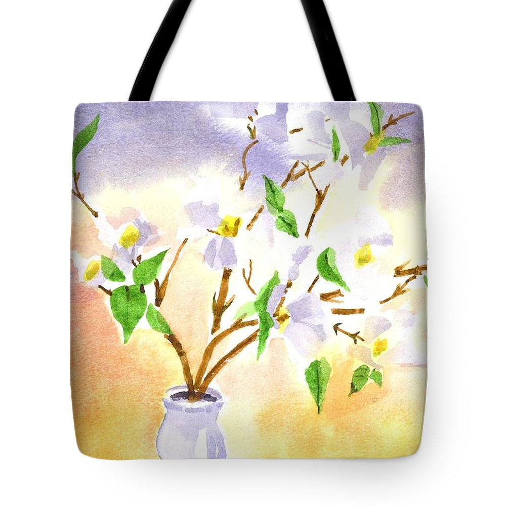Dogwood In Watercolor Tote Bag featuring the painting Dogwood In Watercolor by Kip DeVore