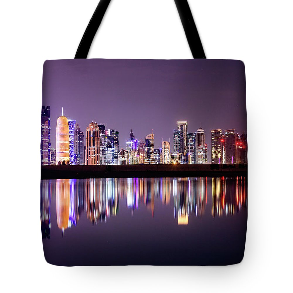 West Bay Tote Bag featuring the photograph Doha Skyscrapers by Photography By Lubaib Gazir