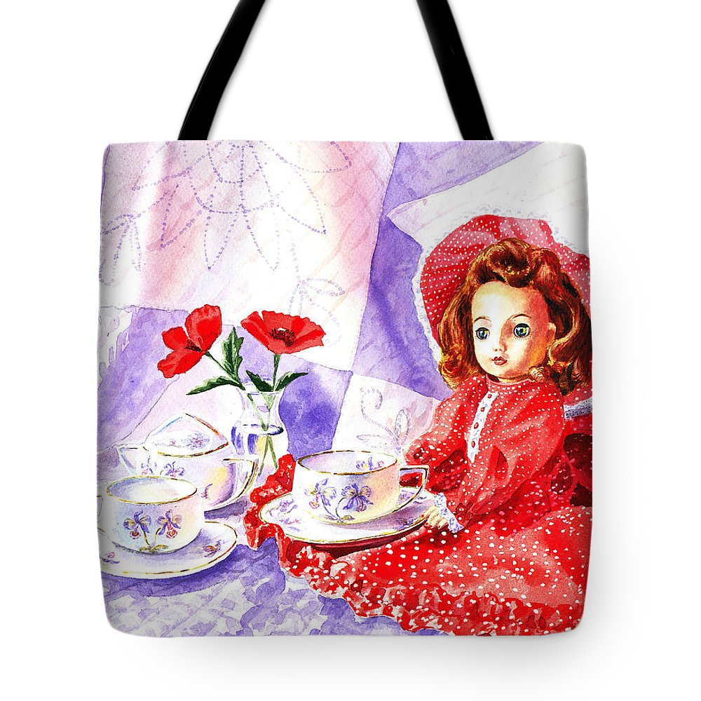 Doll Tote Bag featuring the painting Doll At The Tea Party by Irina Sztukowski