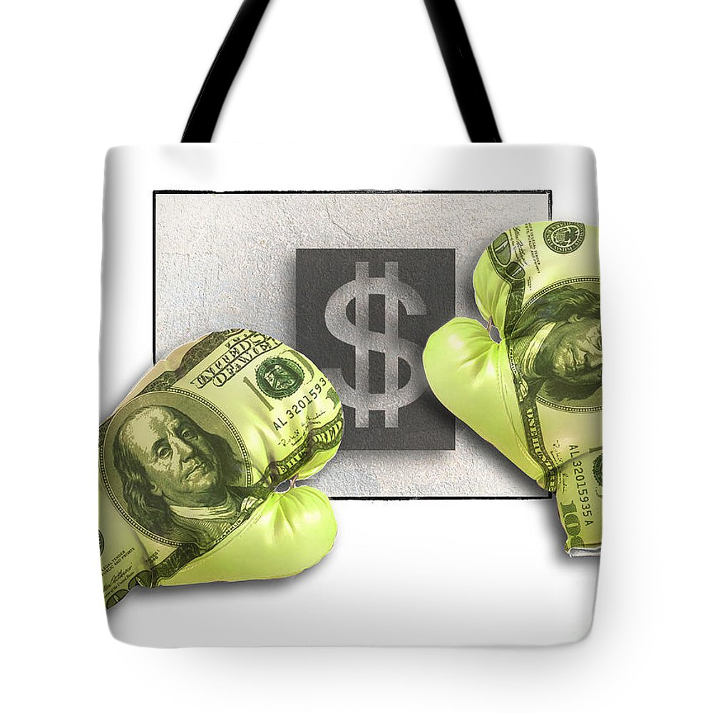 Dollars Tote Bag featuring the digital art Dollar Gloves-1 by Chris Van Es