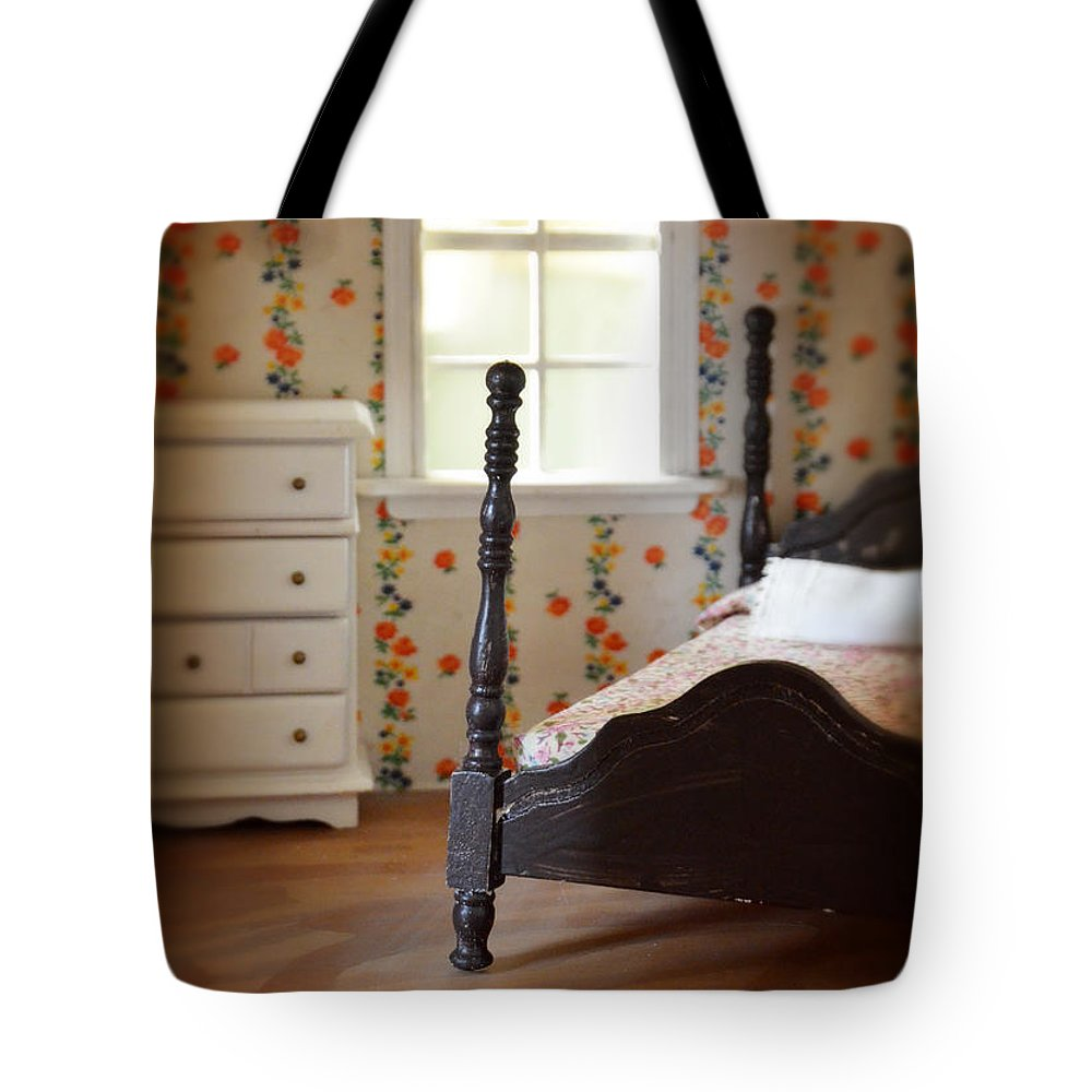 Dollhouse Tote Bag featuring the photograph Dollhouse Bedroom by Jill Battaglia
