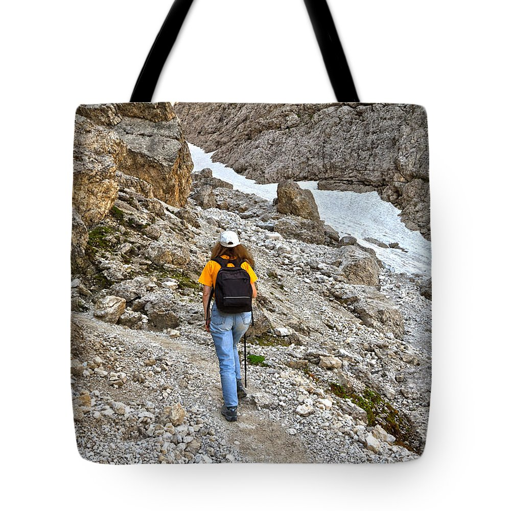 Alto Adige Tote Bag featuring the photograph Dolomiti - Hiker In Val Setus by Antonio Scarpi