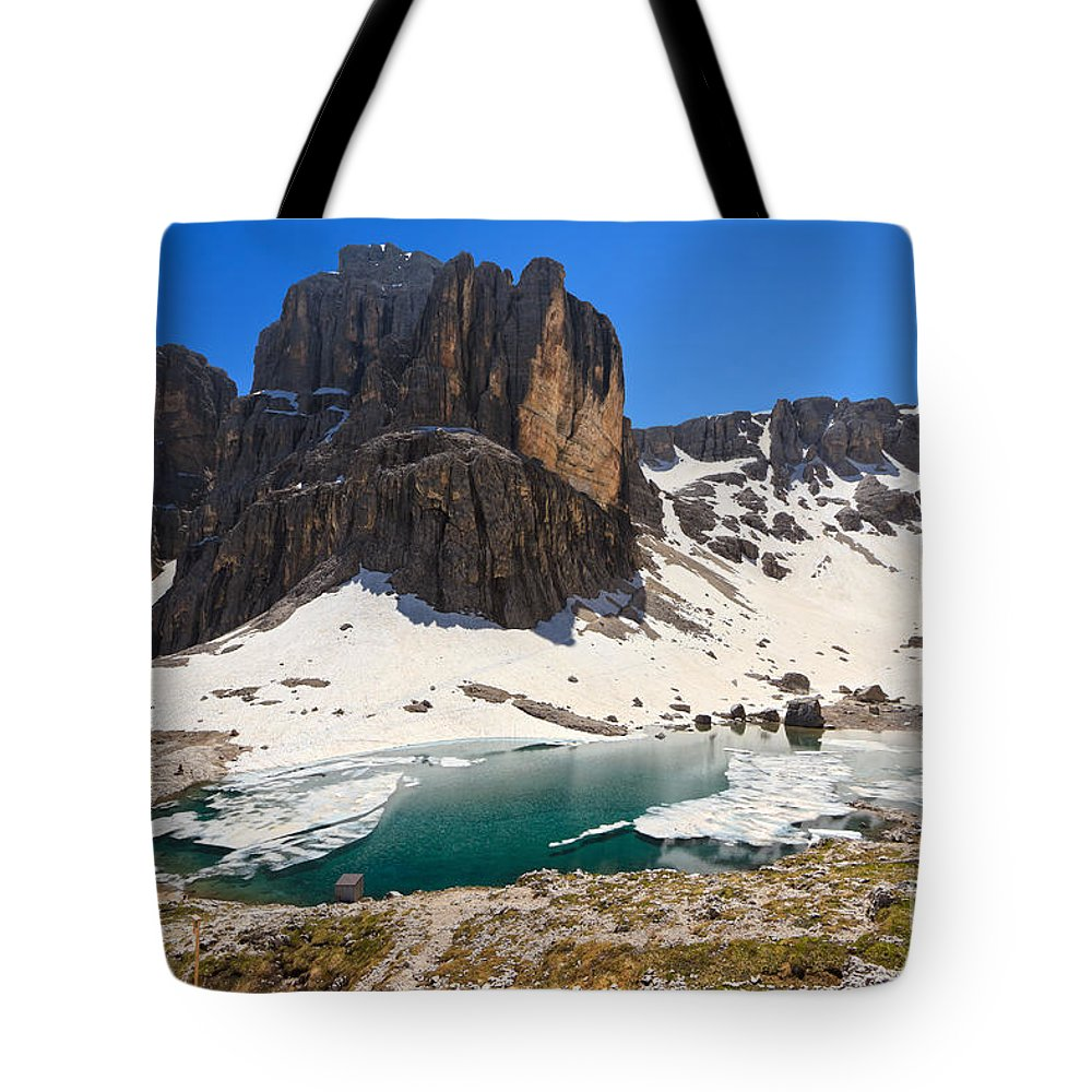 Badia Tote Bag featuring the photograph Dolomiti - Pisciadu Lake by Antonio Scarpi