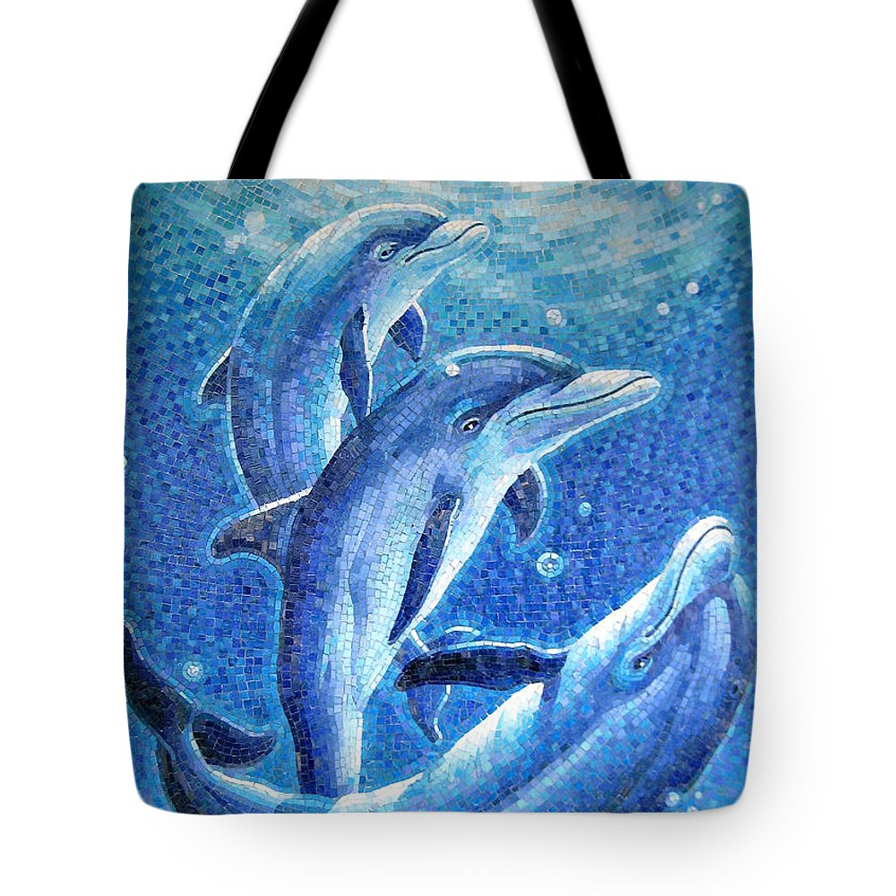 Playful Tote Bag featuring the painting Dolphin Trio by Mia Tavonatti