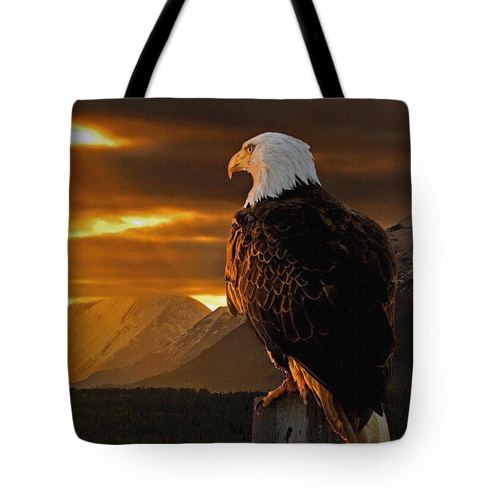 Eagle Tote Bag featuring the photograph Domain by Ron Day