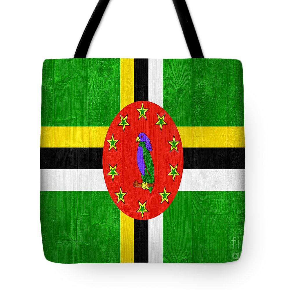 Dominica Tote Bag featuring the photograph Dominica Flag by Luis Alvarenga