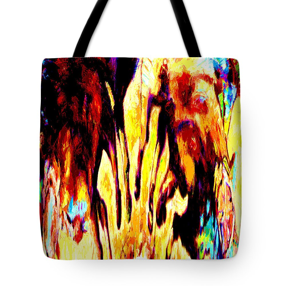 Abstract Tote Bag featuring the digital art Don't Cry Over Spilled Paint by John Lautermilch