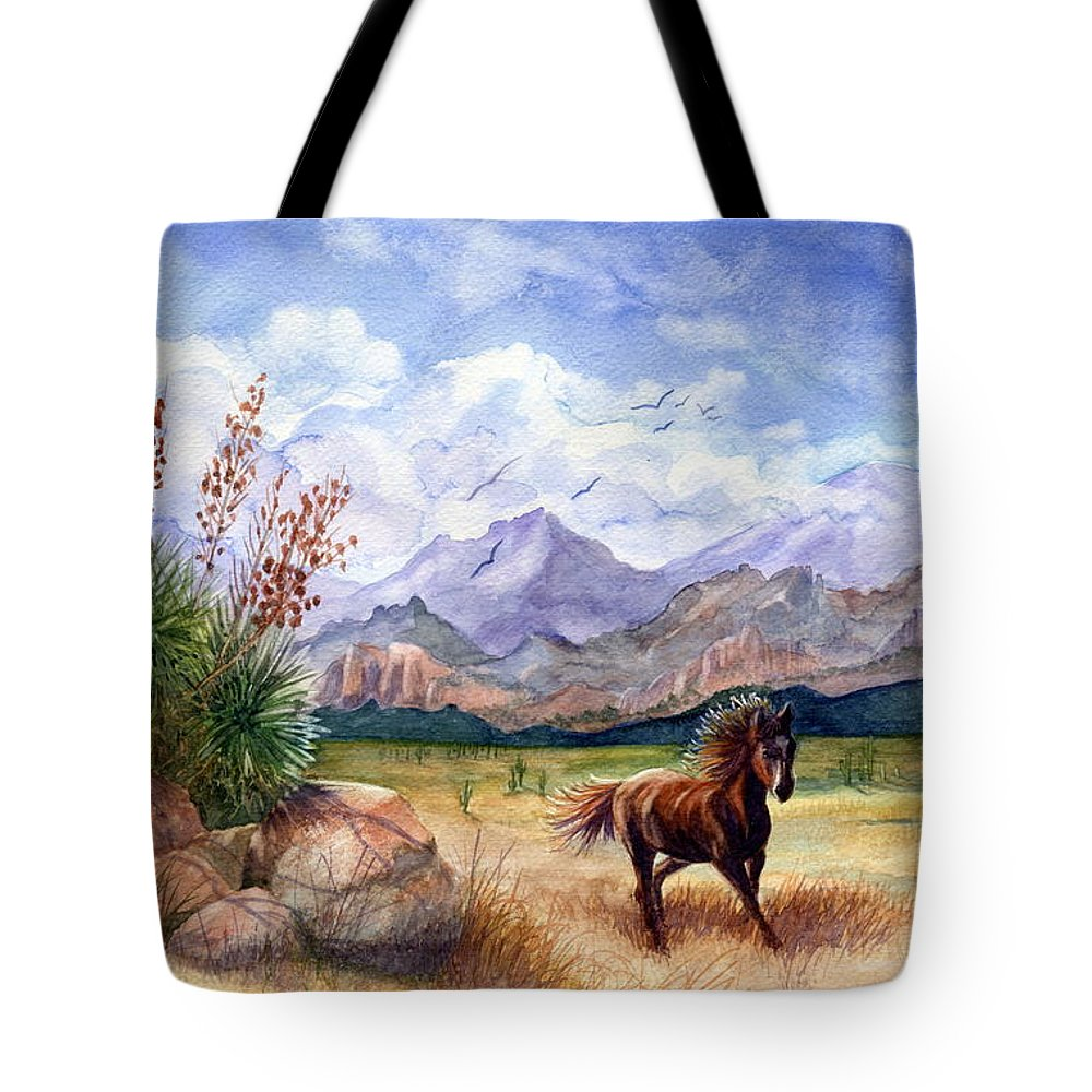 Mustang Tote Bag featuring the painting Don't Fence Me In by Marilyn Smith