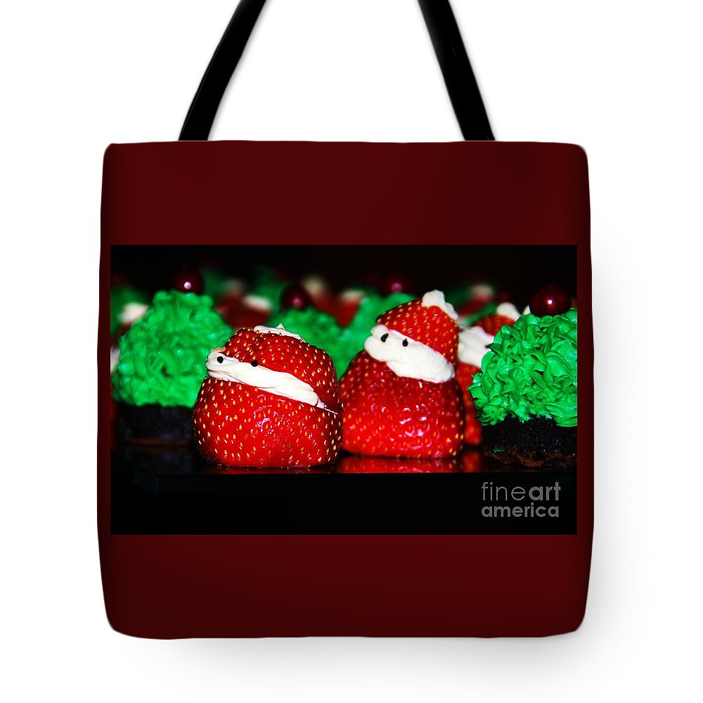 Food Anthropomorphism Cute Holiday Whimsical Strawberries Santas Christmas Holiday Card Pareidolia Nature Kitchen Humor Faces Kids Red Green Metal Frame Canvas Print Poster Print Available On Greeting Cards Phone Cases T Shirts Throw Pillows Duvet Covers Tote Bags Shower Curtains And Now Mugs Tote Bag featuring the photograph Don't Let Them Eat Us by Marcus Dagan