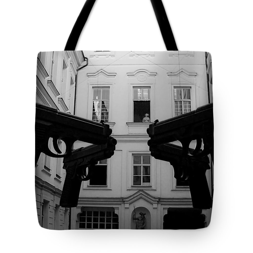 Monochromatic Tote Bag featuring the photograph Don't Shoot by Kathleen Odenthal