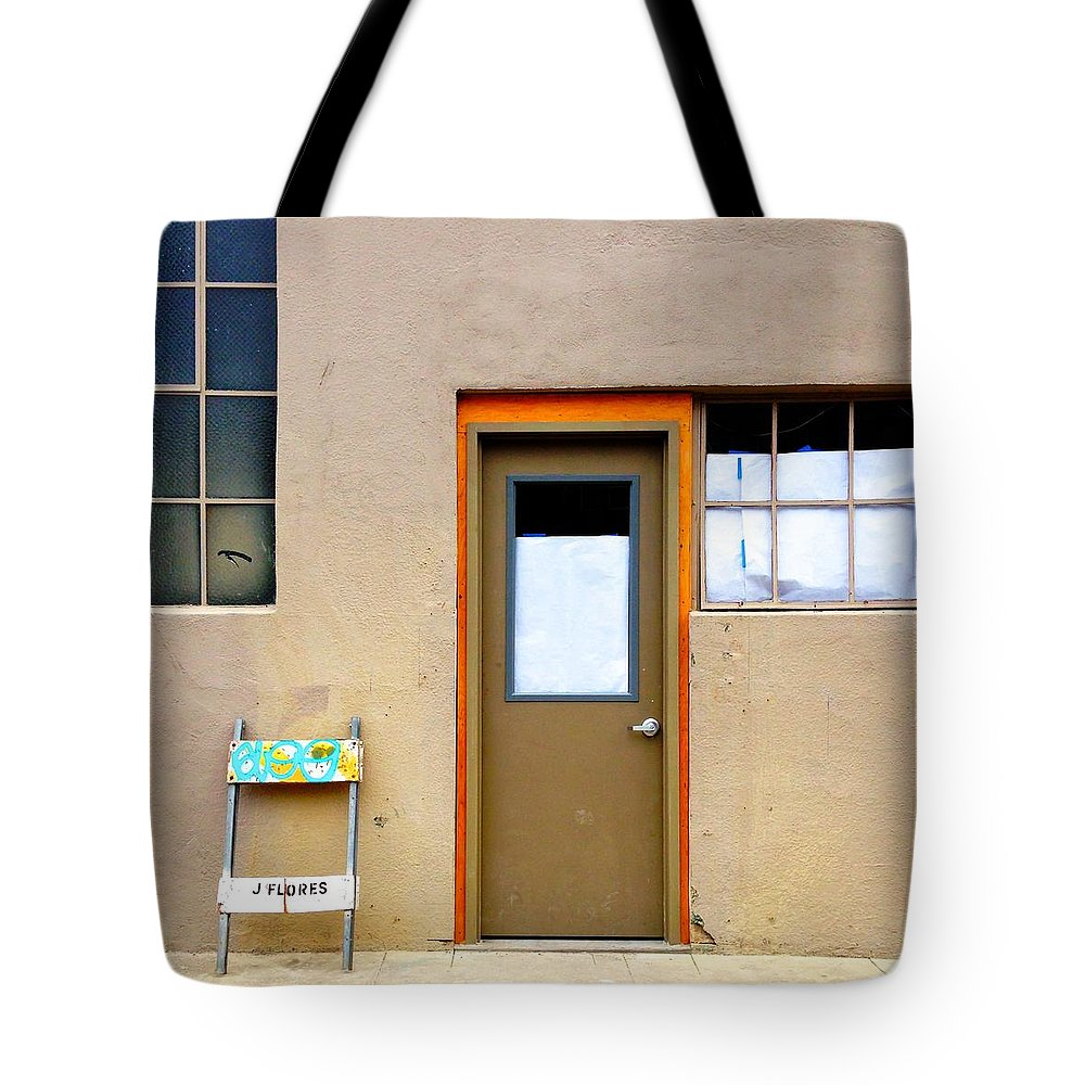 #door #window #wall #sawhorse #color Tote Bag featuring the photograph Door And Windows by Julie Gebhardt