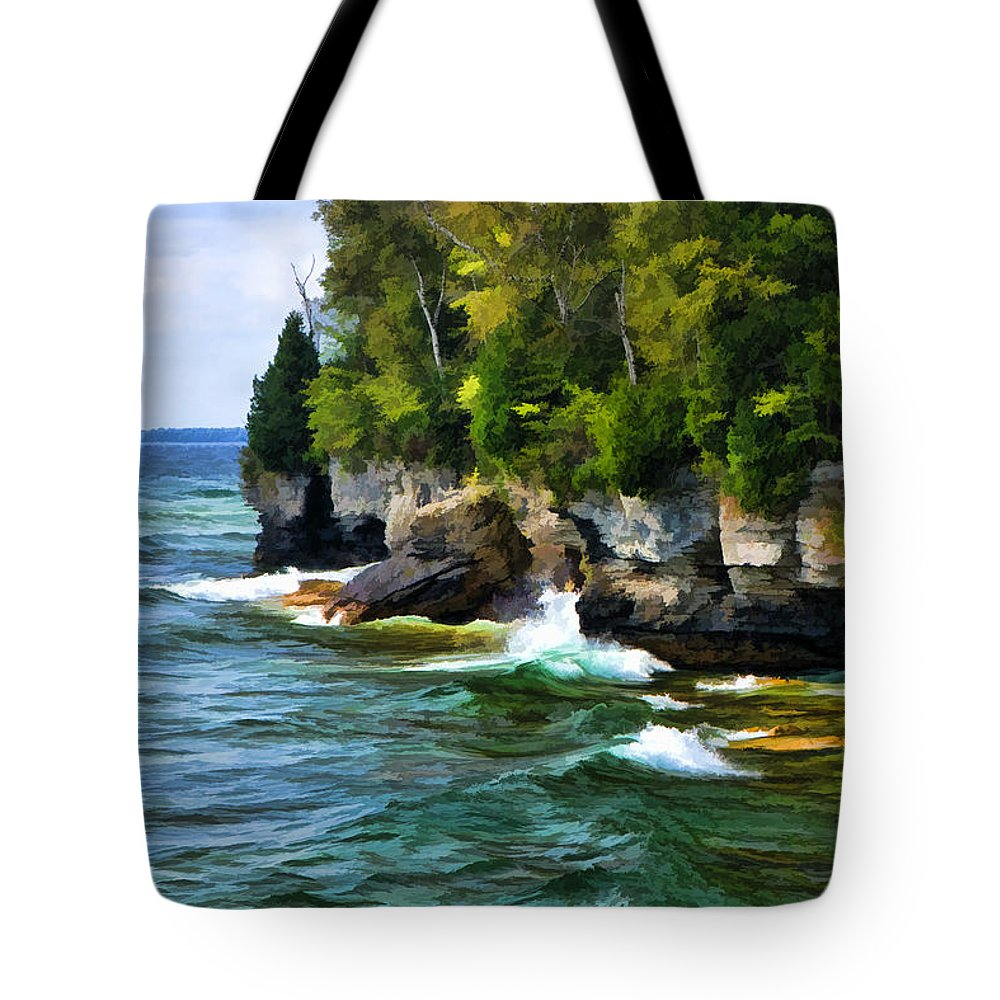 Cave Point Tote Bag featuring the painting Door County Cave Point Cliffs by Christopher Arndt
