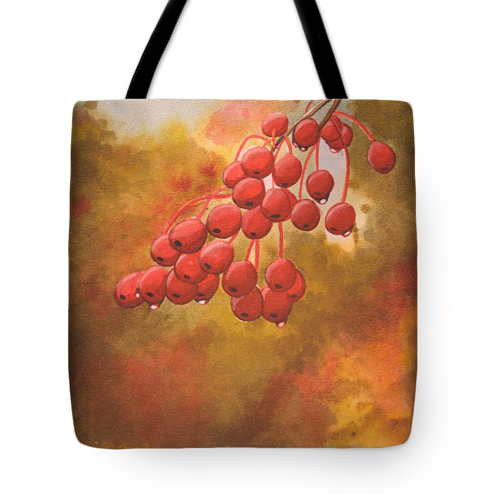 Rick Huotari Tote Bag featuring the painting Door County Cherries by Rick Huotari