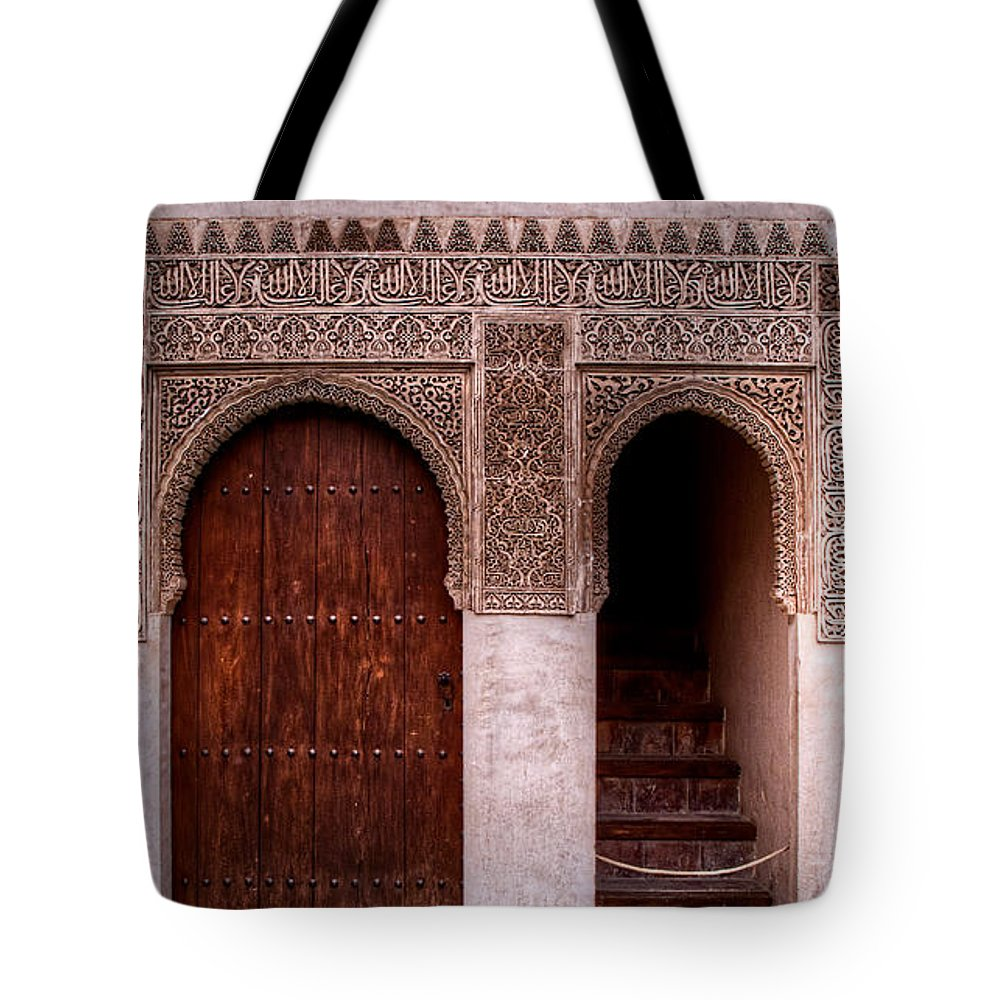 Alhambra Tote Bag featuring the photograph Door Of The Court Of The Myrtles 2 by Weston Westmoreland
