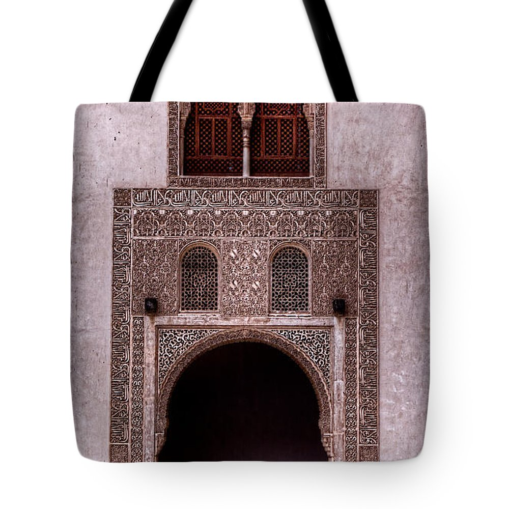 Alhambra Tote Bag featuring the photograph Door Of The Court Of The Myrtles 3 by Weston Westmoreland