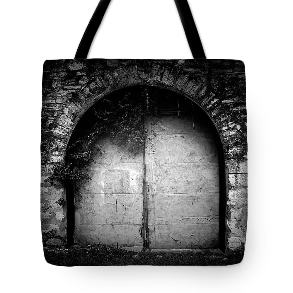 Black Tote Bag featuring the photograph Doors To The Other Side by Trish Mistric