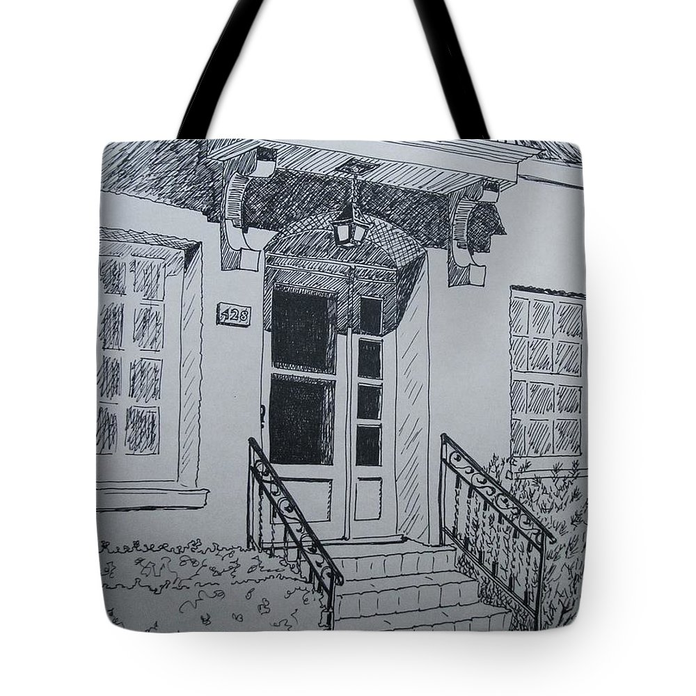 Pen And Ink Tote Bag featuring the drawing Doorway by Mary Ellen Mueller Legault