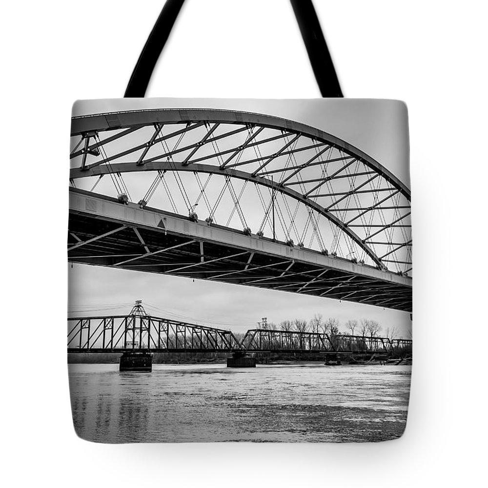 Bridge Tote Bag featuring the photograph Double Crossing by Mark McDaniel