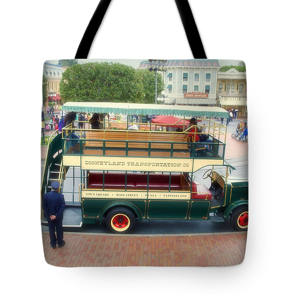 Disney Tote Bag featuring the photograph Double Decker Bus Main Street Disneyland 02 by Thomas Woolworth