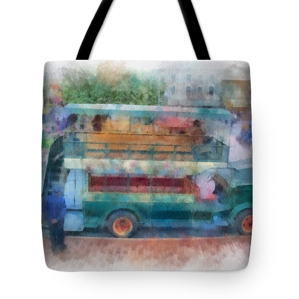 Disney Tote Bag featuring the photograph Double Decker Bus Main Street Disneyland Photo Art 01 by Thomas Woolworth