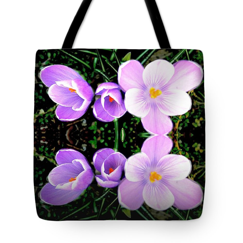 Crocus Tote Bag featuring the photograph Double Delight by Judy Palkimas
