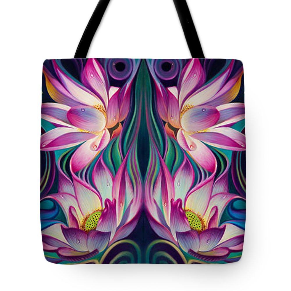 Lotus Tote Bag featuring the painting Double Floral Fantasy 2 by Ricardo Chavez-Mendez