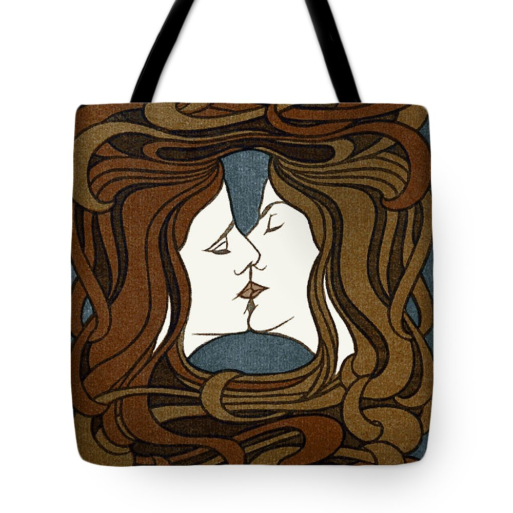 Behrens Tote Bag featuring the digital art Double Medusa Illustration Panel by Daniel Hagerman