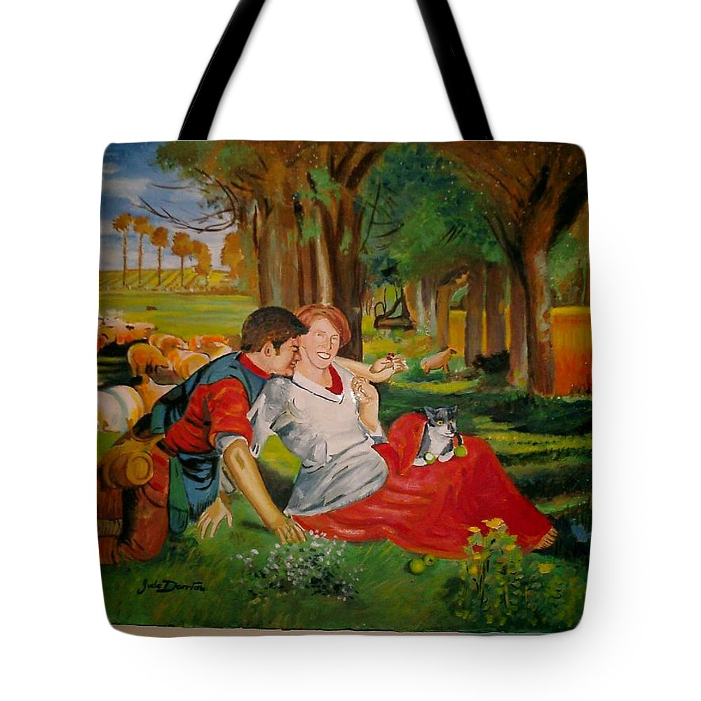 Tote Bag featuring the painting double portrait of freinds Gunner and Jessie by Jude Darrien