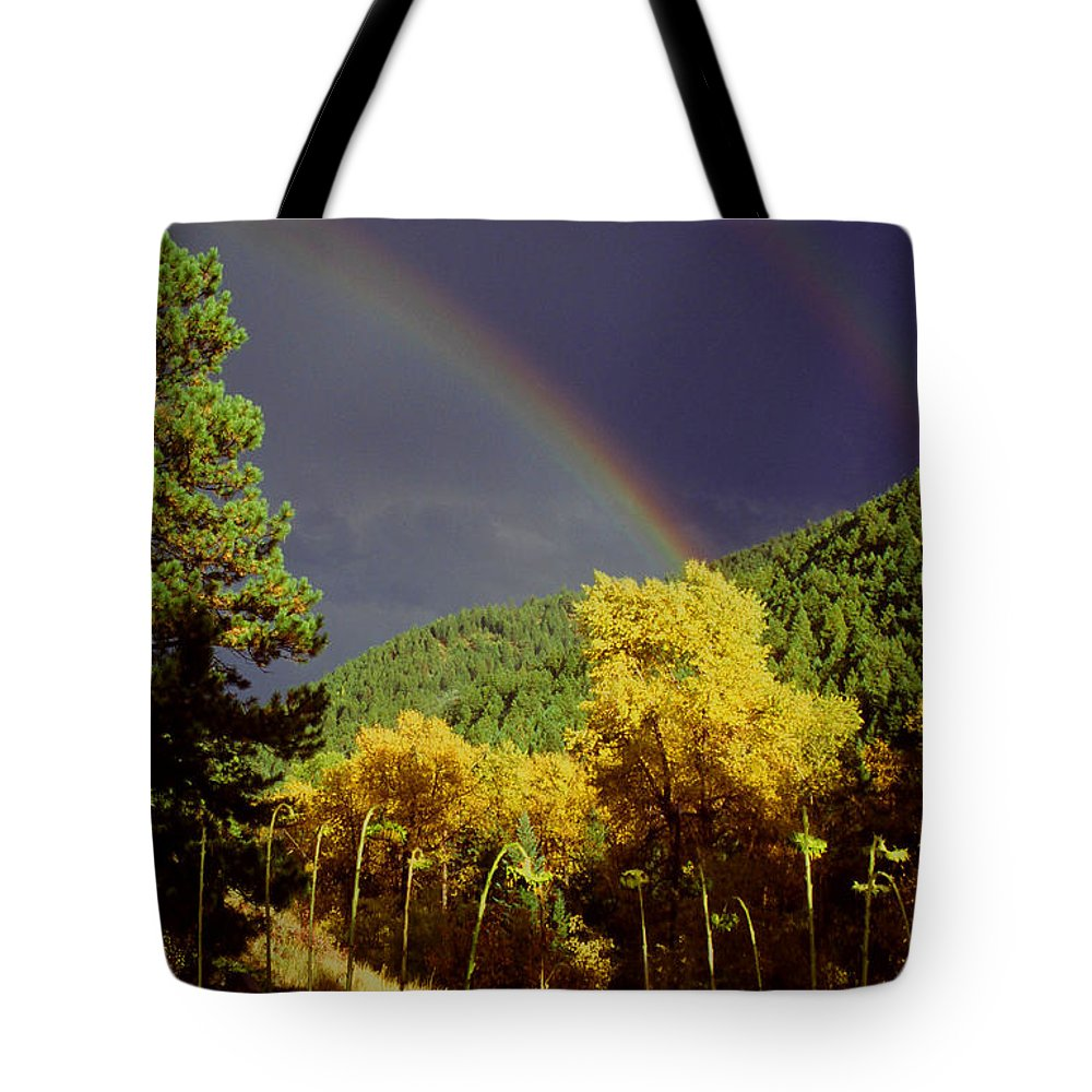 Rainbow Autumn Nature Golden Leaves Cottonwood Trees Nature Valley Colorado Rocky Mountains Tote Bag featuring the photograph Double Rainbow Autumn by George Tuffy