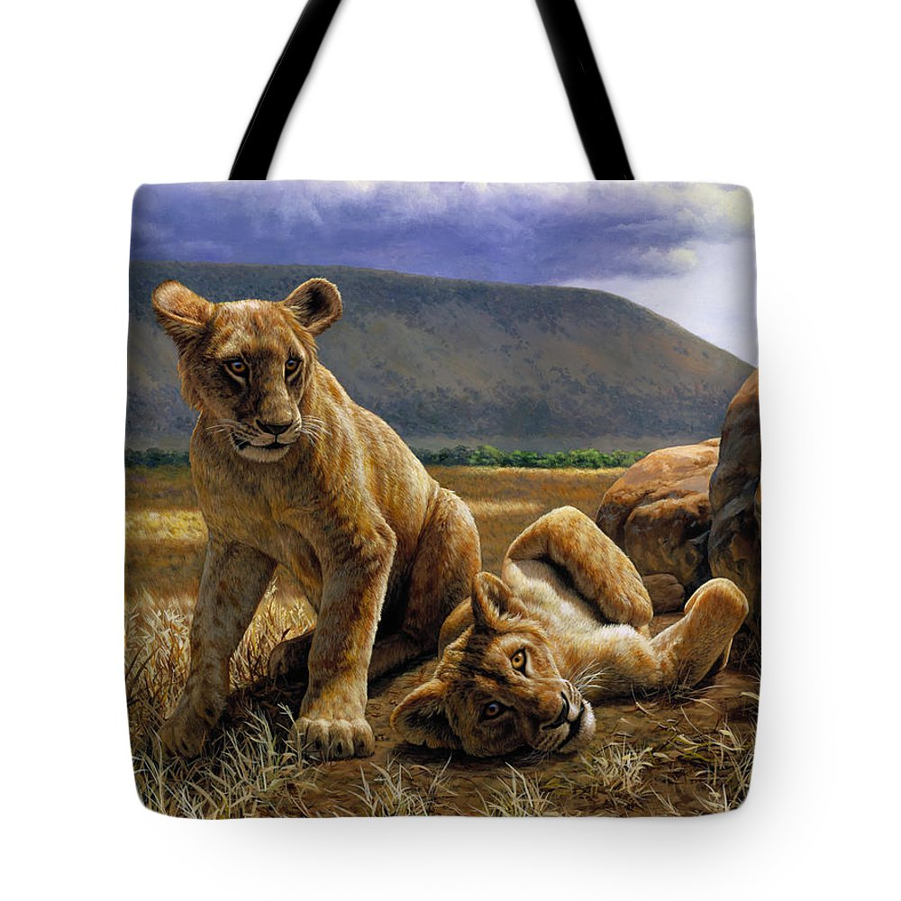 Cat Tote Bag featuring the painting Double Trouble by Crista Forest