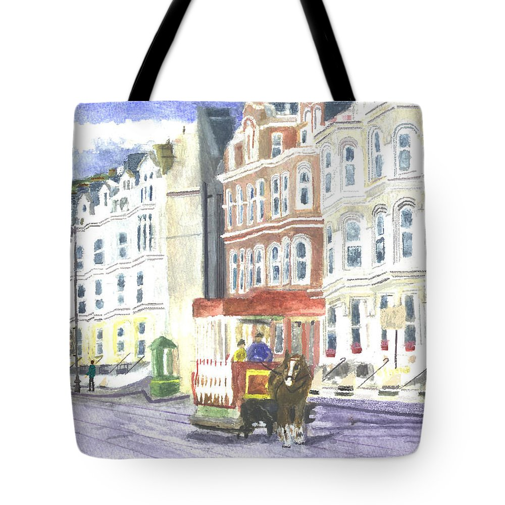 Town Seaside Horse Tram Seafront Beach Sea Scene Holiday Coast Tote Bag featuring the painting Douglas Promenade Iom by Michelle Archer