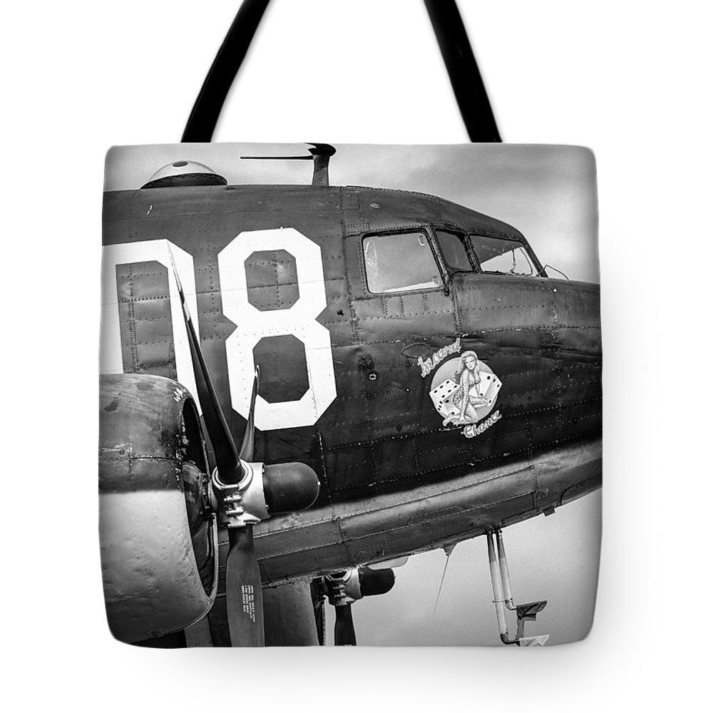 Aircraft Tote Bag featuring the photograph Douglass C-47 Skytrain - Nose Section - Dakota by Gary Heller