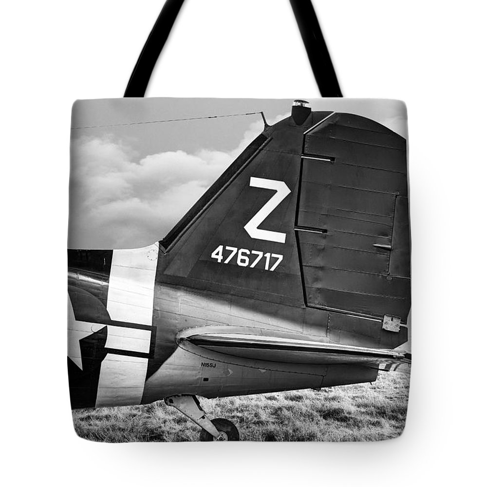Aircraft Tote Bag featuring the photograph Douglass C-47 Skytrain Tail Section - Dakota by Gary Heller