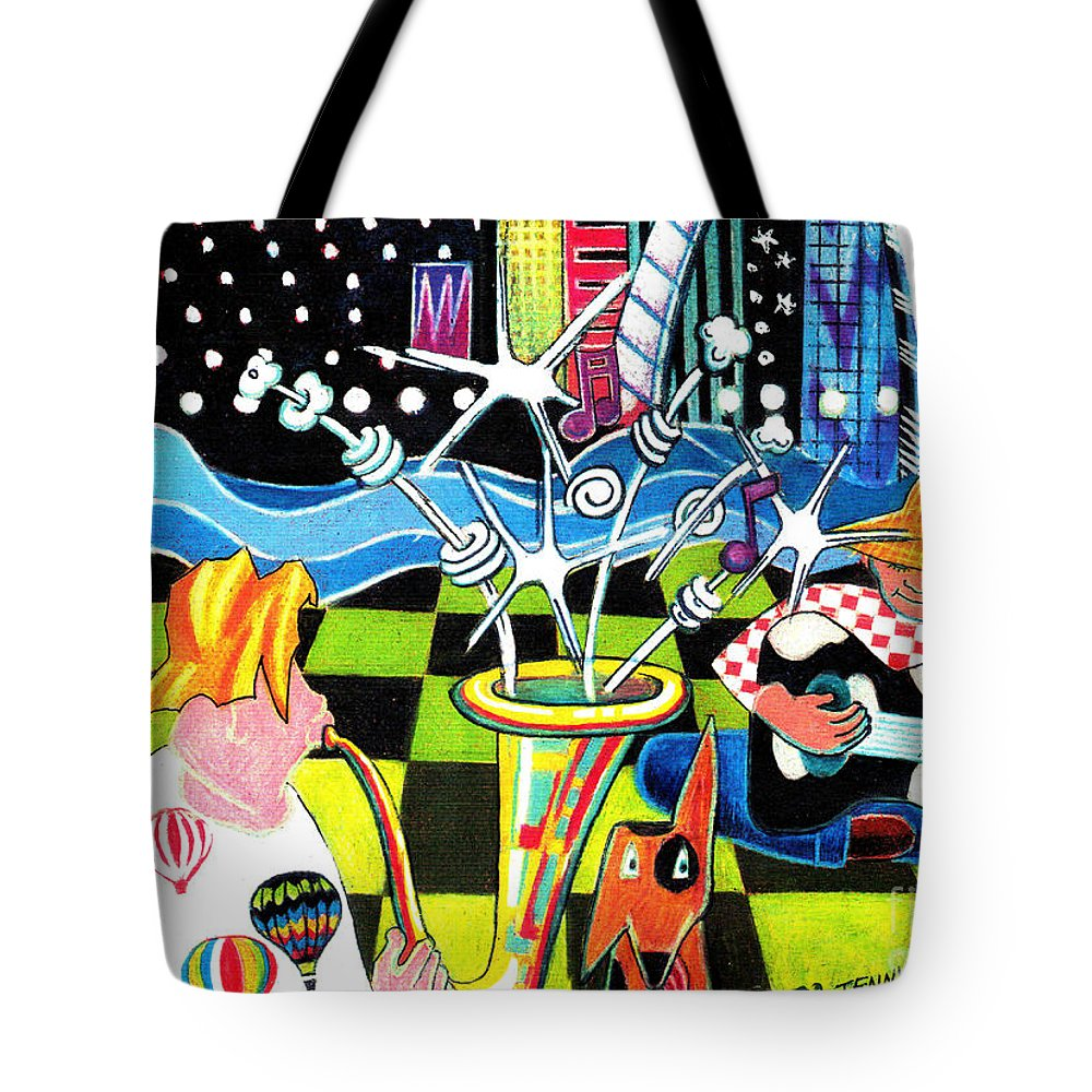 Musicians Tote Bag featuring the painting Down By The River by Genevieve Esson