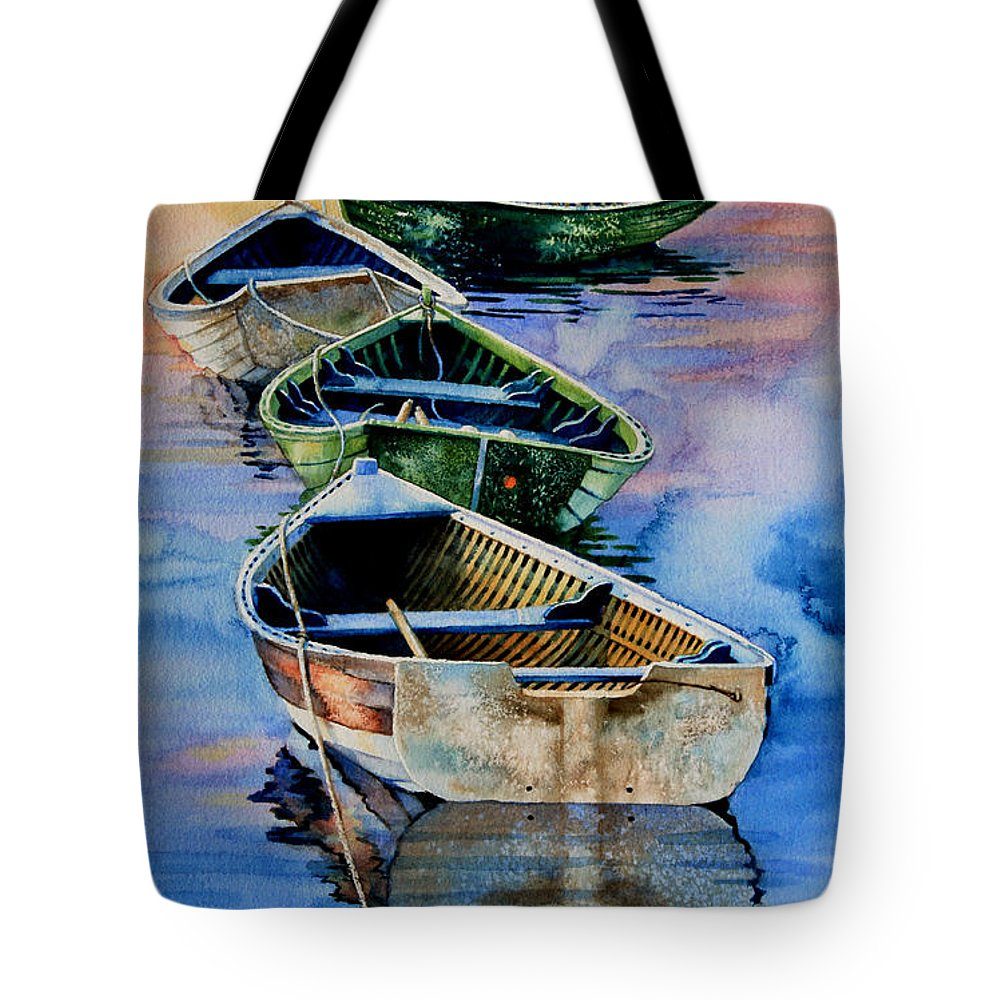 Dory Tote Bag featuring the painting Down East Dories At Dawn by Hanne Lore Koehler