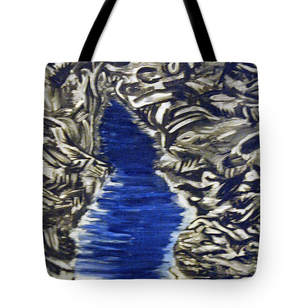 Black And White Tote Bag featuring the painting Down Flow by Suzanne Surber