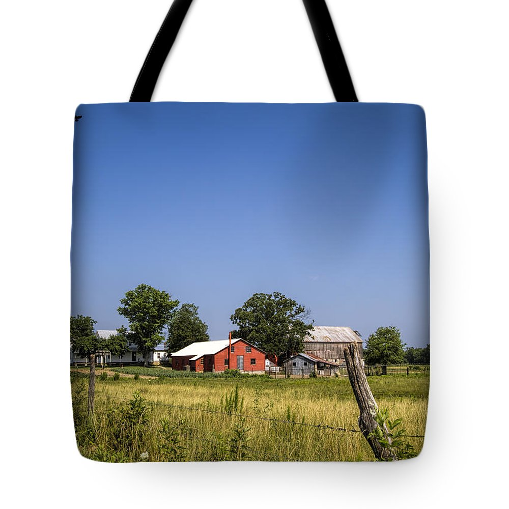 Amish Tote Bag featuring the photograph Down Home Amish Farm by Kathy Clark