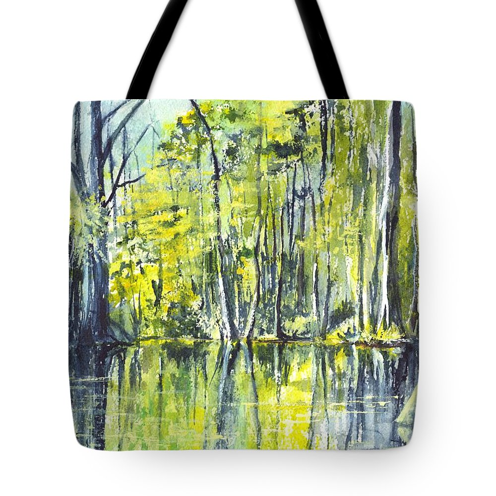 Watercolor Tote Bag featuring the painting Down On The Bayou by Carol Wisniewski