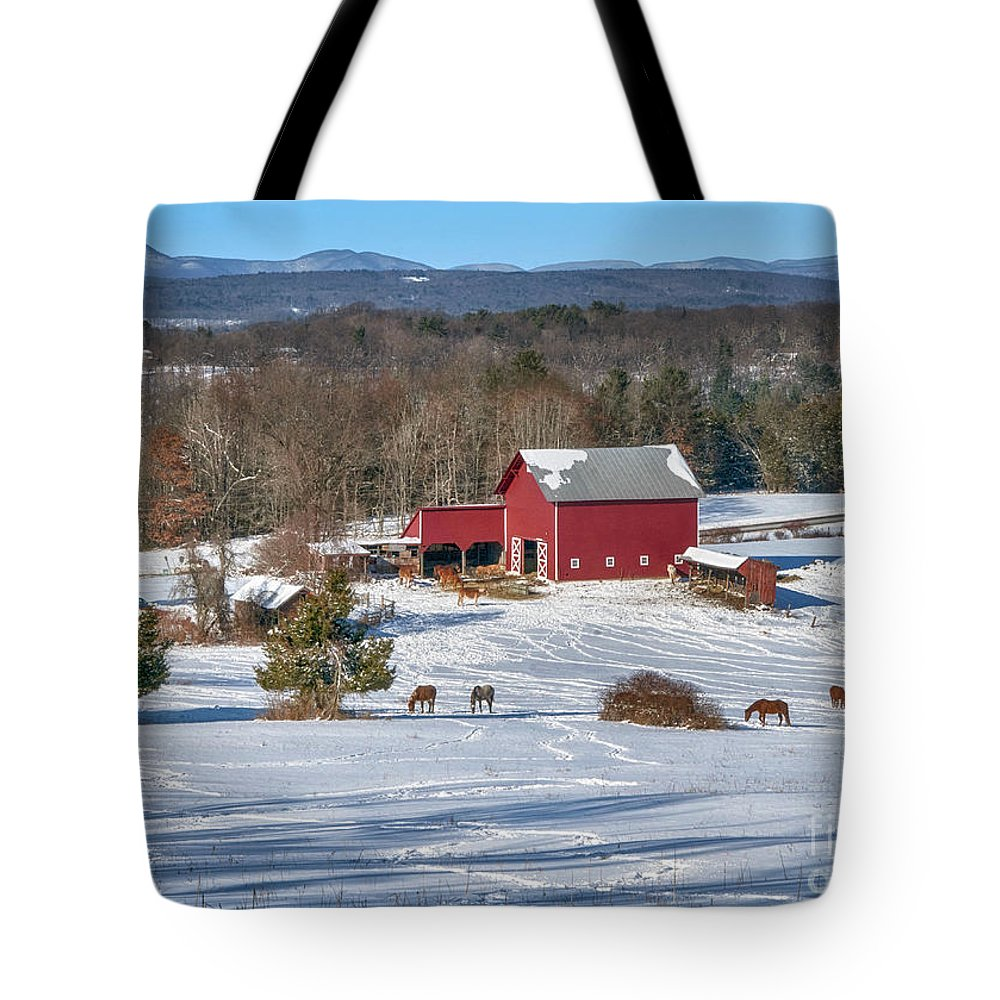 Hudson Valley Tote Bag featuring the photograph Down The Hill by Claudia Kuhn