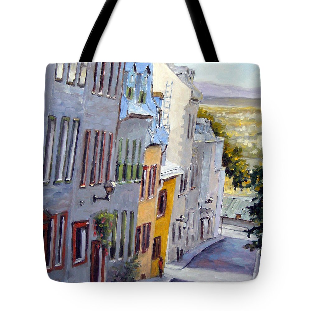 Urban Tote Bag featuring the painting Down The Hill Old Quebec City by Richard T Pranke