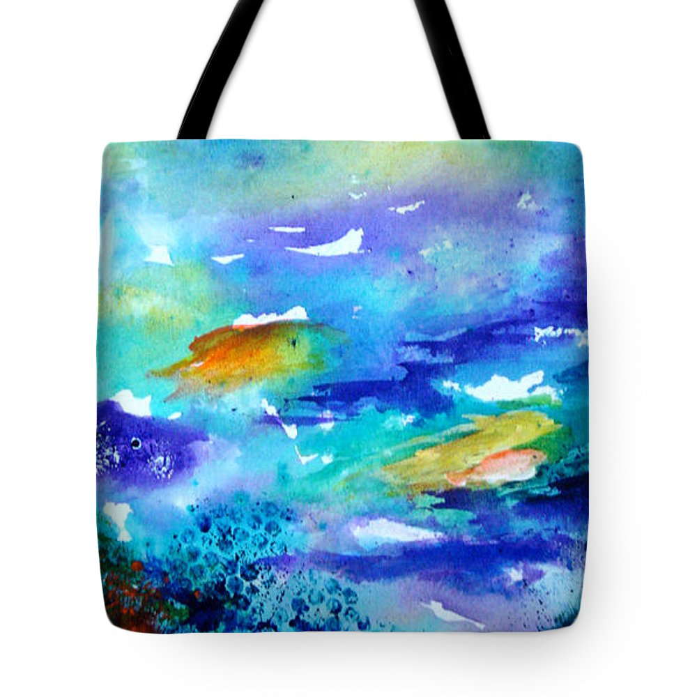 Seascape Tote Bag featuring the painting Down Under by Pat Beans
