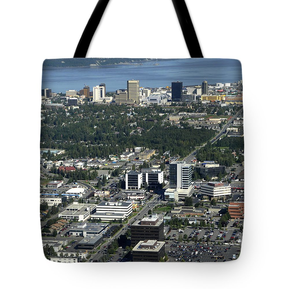 Aerial Tote Bag featuring the photograph Downtown Anchorage Alaska by Bill Cobb