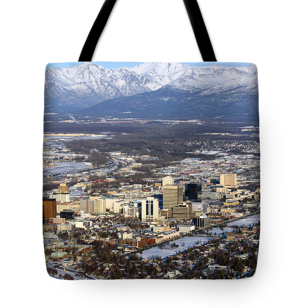 Aerial Tote Bag featuring the photograph Downtown Anchorage by Bill Cobb